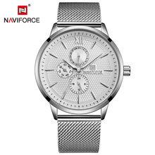NAVIFORCE мужские часы лучший бренд класса люкс, модные спортивные часы для мужчин с сетчатым ремешком, водонепроницаемые черные наручные часы ...(China)
