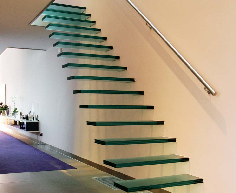 Safety Gl Floating Wooden Staircase Customized