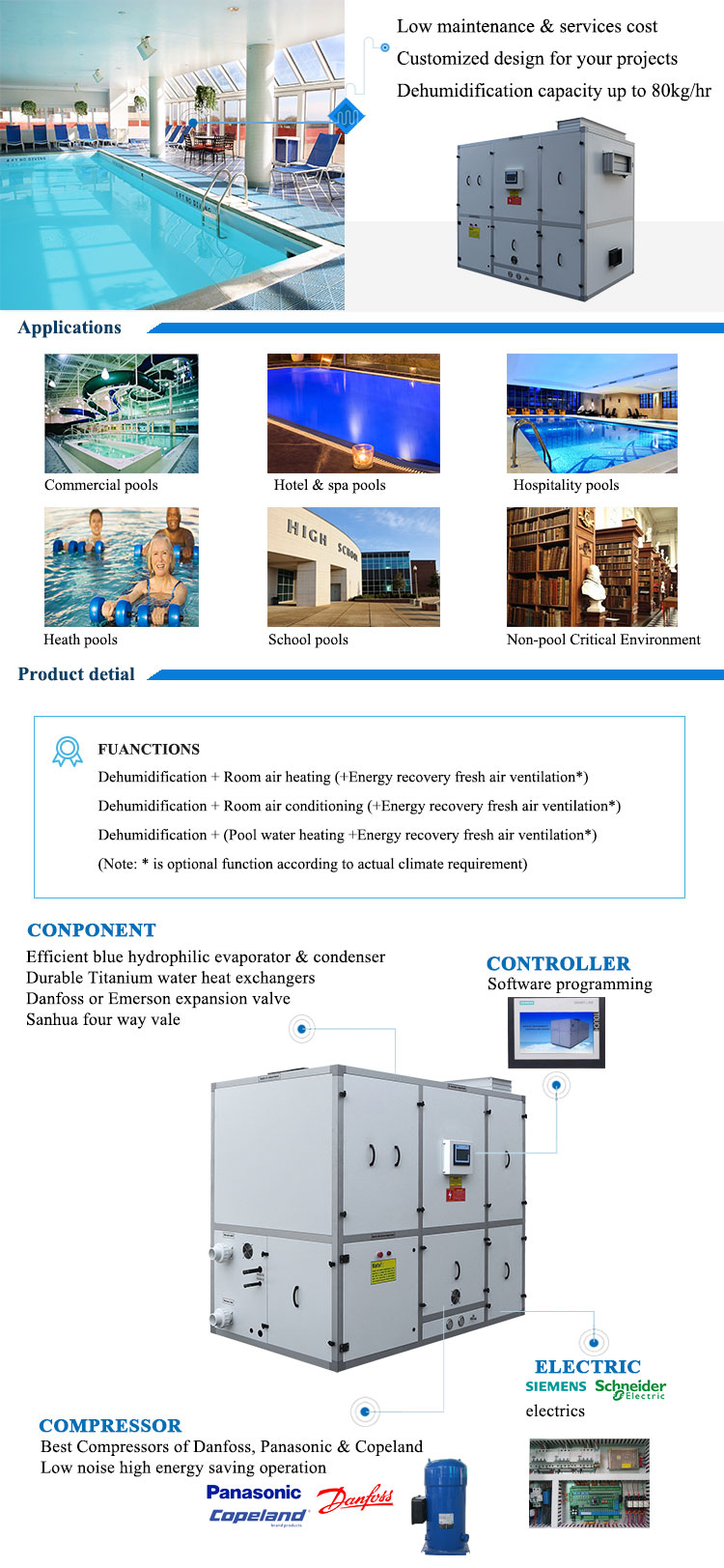 40L/h dehumidifier for swimming pools water park
