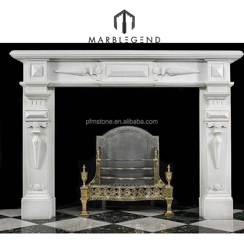 a large jacobean style bianco pi marble antique fireplace surround