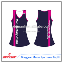 Sublimation netball jersey keine hülse, netball workout gym uniformen printing sportswear