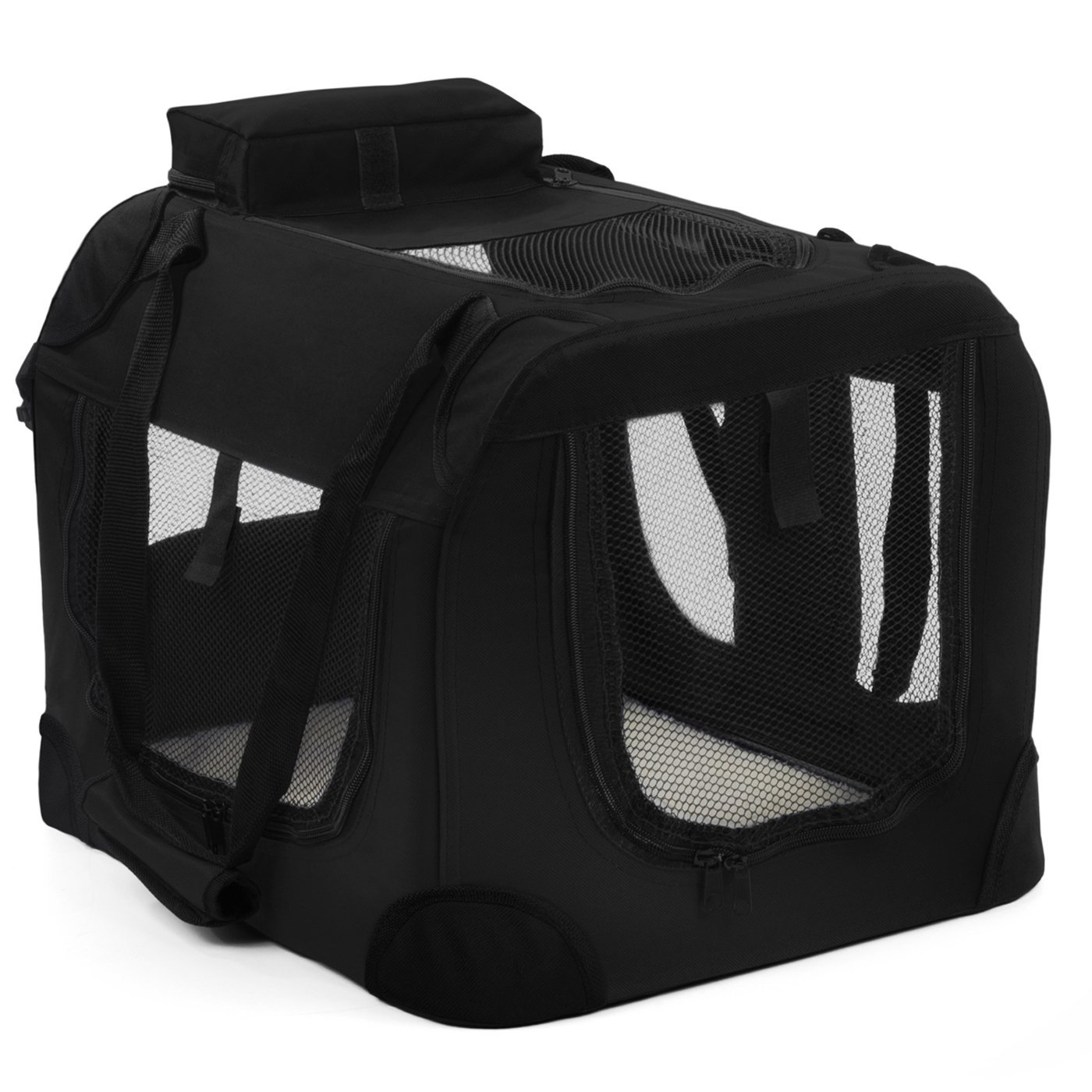 """Paws & Pals Foldable Soft Sided Pet Crate Training Kennel Carrier for Cats and Dogs – 40"""" x 27"""" x 28"""" Inches Black"""