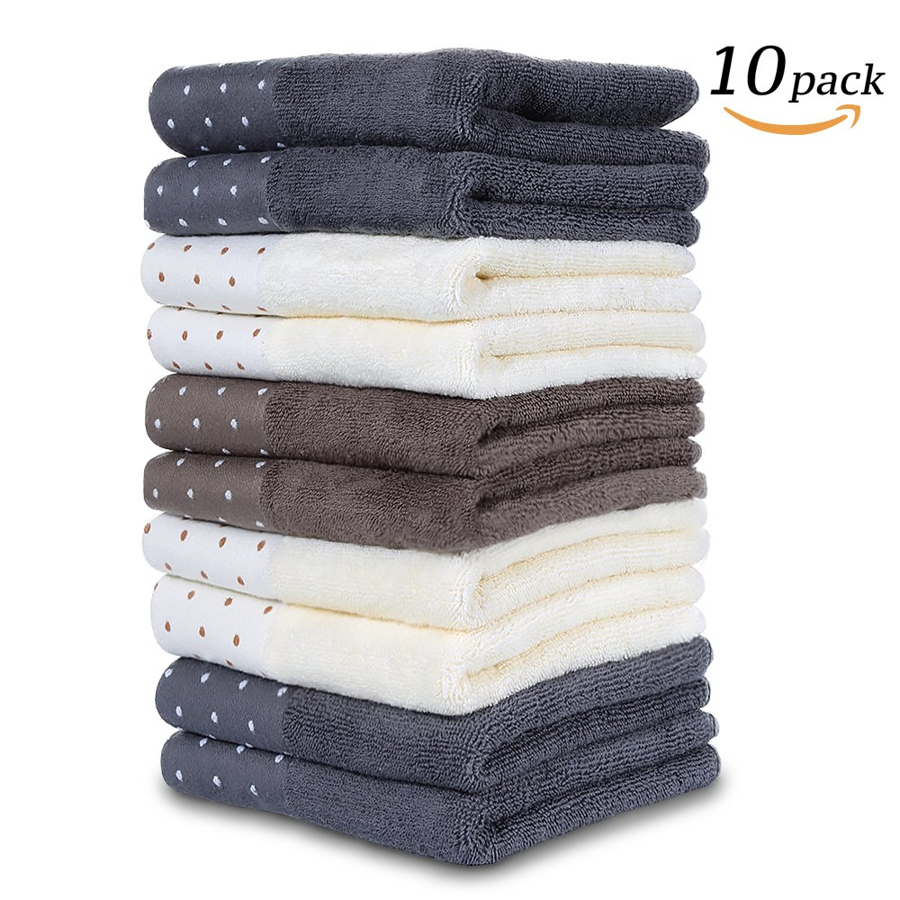 unalice Cotton Craft Ultra Soft Cotton Washcloths, Light Multipurpose Quick Drying Towel(10 - Pack 28 x 13 Inch) …