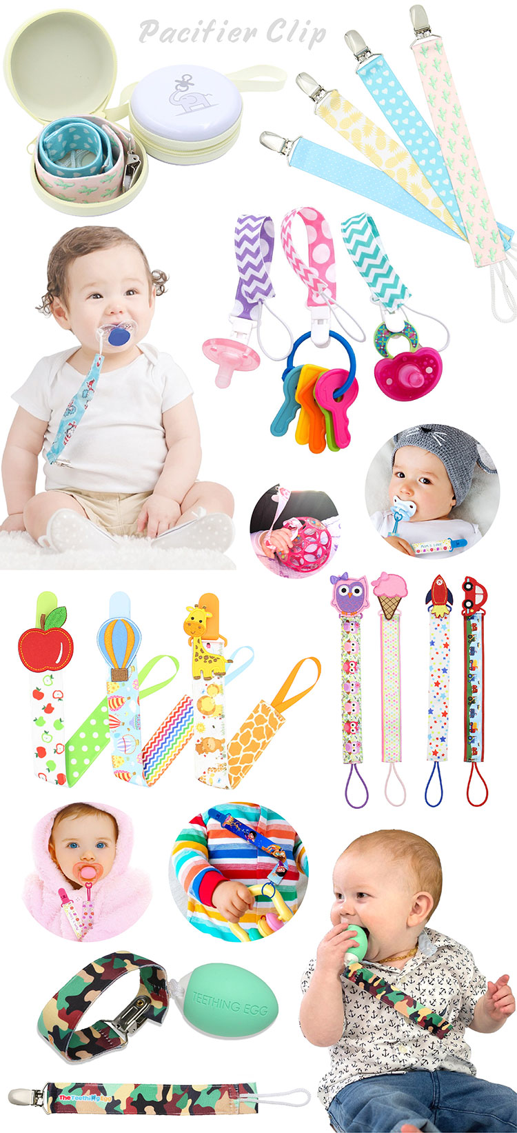 Custom logo diy silicone beads ribbon pacifier clip plastic