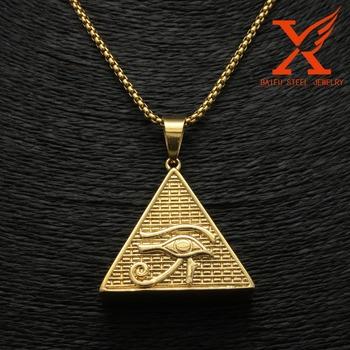 4490d34df31a Los Hombres De Hip Hop Colgante 14 K Chapado En Oro Ojo De Horus De  Pirámide De Egipto Ankh Colgante De Encantos De Acero Inoxidable 316l  Joyería - ...