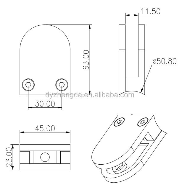 Paquete de 4 abrazaderas de balaustrada de cristal en forma de D de acero inoxidable 316 pulido cepillado