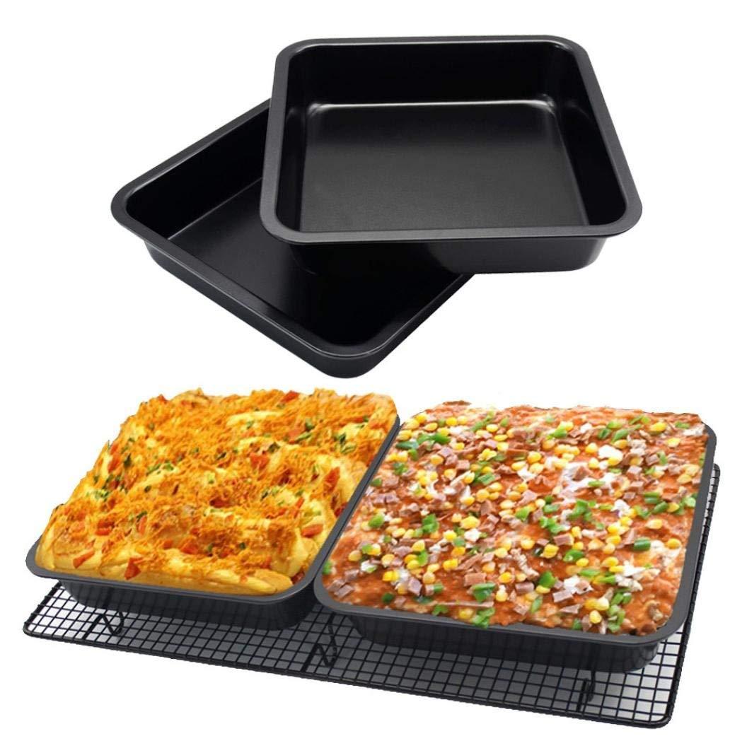 Cake Pan, Sacow 8 inch Steel Core Square Cake Baking Pan Non-Stick Bread Bakeware Cake Make Pan Black