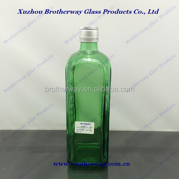 750ml square gin glass bottle with screw top