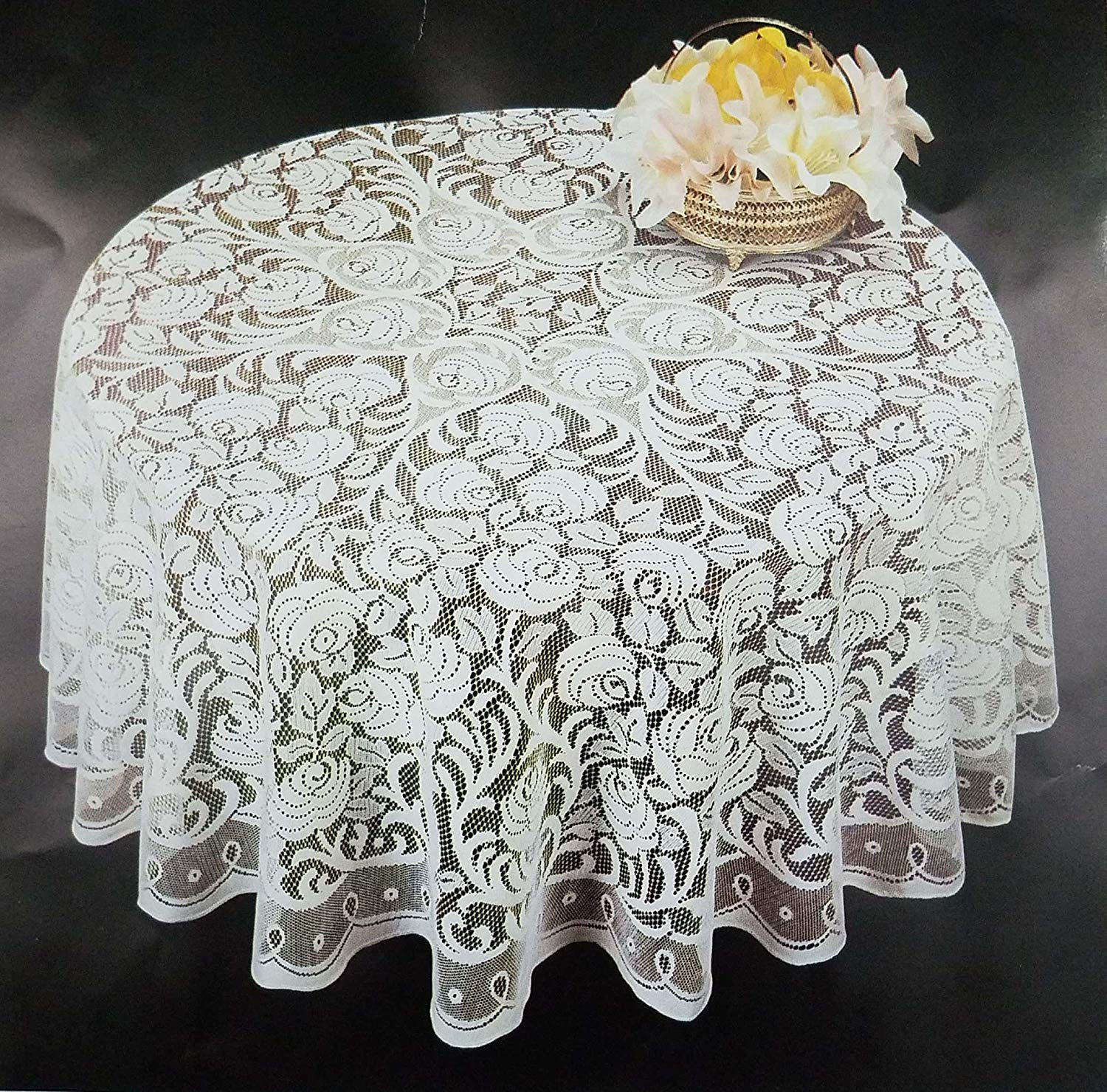 Lace Tablecloths Oval 300x300.jpg AdonisUSA Round White or Ecru Lace Tablecloth with Dalia Floral Design  (Ecru)