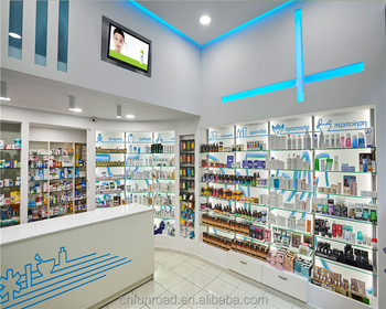 Pharmacy Glass Display Cabinet Showcase Medical Store