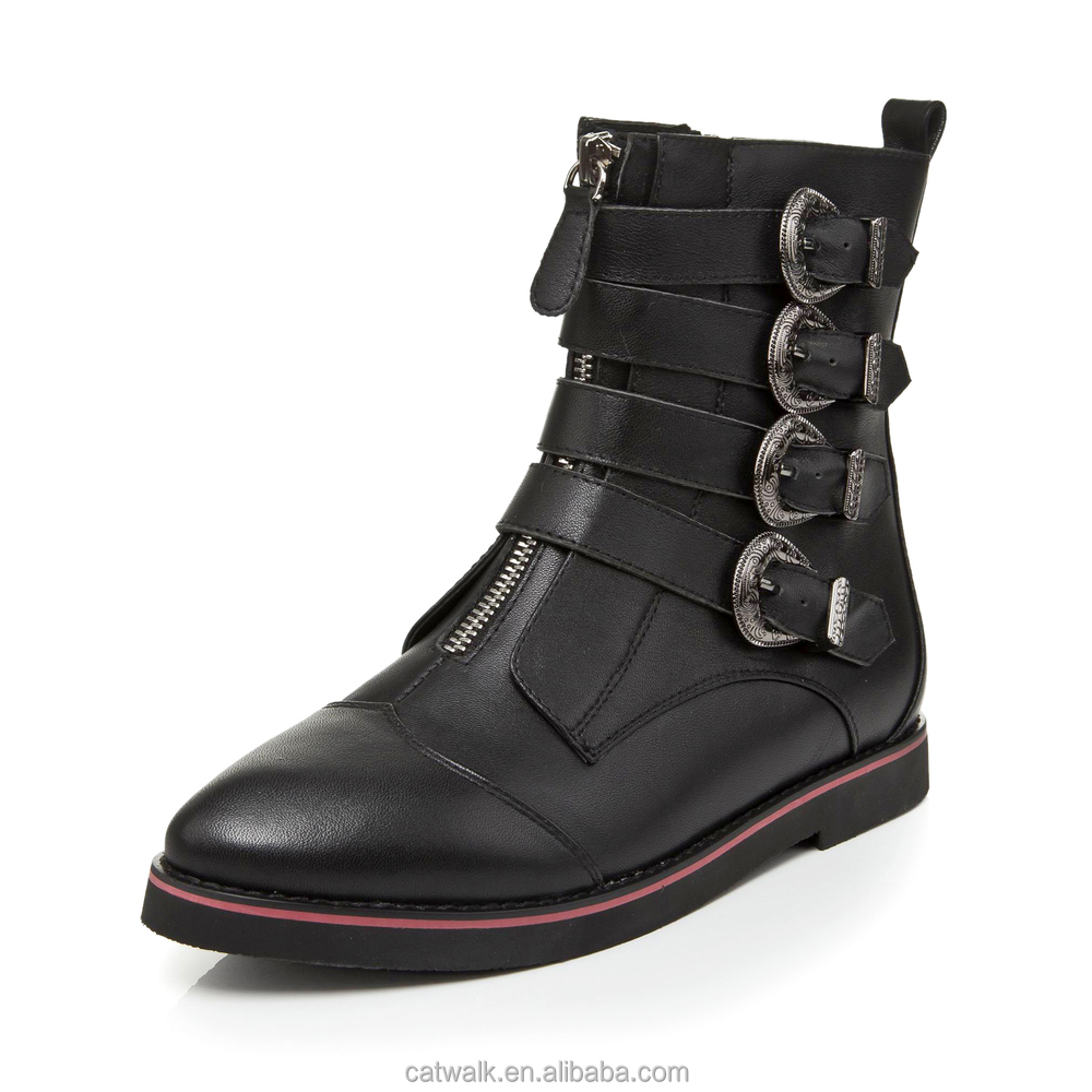 Womens Motocycle Leather Boots Side Buckle Women Flat Boots High ...