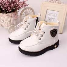 2016 Winter Kids Children Shoes Boys Girls Snow Boots Ankle Boots PU Leather kids Martin warm