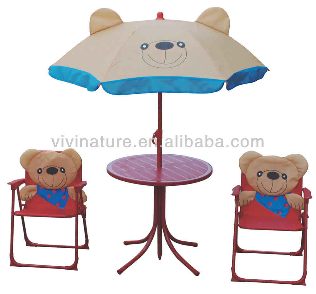 - Kids Portable Folding Garden Furniture Sets, Children Table And