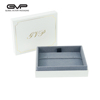 elegant white paper jewelry gift box and blue velvet inlay for ring earring pendant and necklace