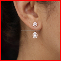 2015 high quality 925 sterling silver micro pave drop diamond earring