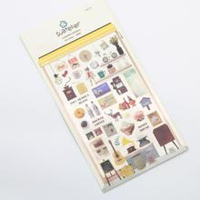 1 Pc / Pack Kawaii Stickers Cute The Cafe 3d Deco Sticker/note Sticker/message Sticker/decoration Label/wholesale