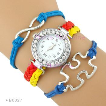 Custom Fashion Colorful High Quality Autism Logo Rhinestones Jewelry Charm Leather Watch Bracelets For Woman Men