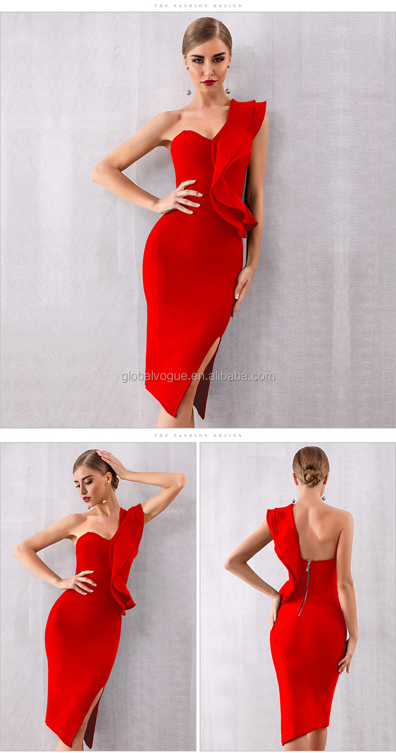 2019 new oblique shoulder bandage skirt small dress solid color three-dimensional decorative sexy dress evening dress