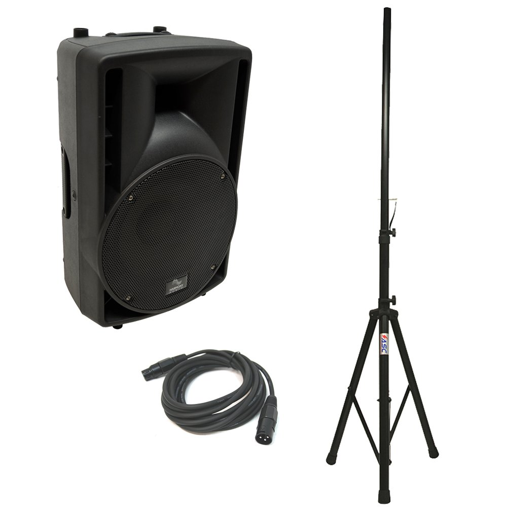 "Harmony Audio HA-C10A Pro DJ 10"" Powered 400W PA Speaker XLR Cable & Stand New"