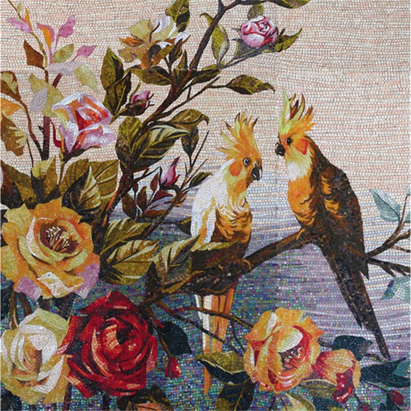 Vh colorful bird and flower wall art murals glass mosaic for Mural mosaic