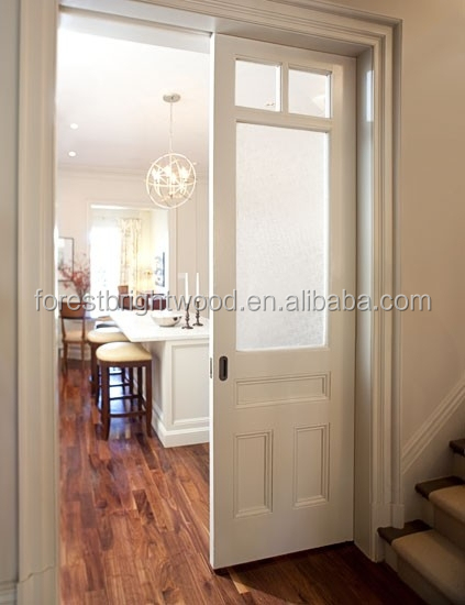 Dining room double interior pocket door with frosted glass for Sliding glass pocket doors interior