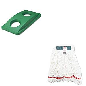 KITRCP269288GNRCPA21206WHI - Value Kit - Rubbermaid Green Bottle amp; Can Recycling Top For Slim Jim Waste Containers (RCP269288GN) and Rubbermaid Web Foot Shrinkless Looped-End Wet Mop Head (RCPA21206WHI)