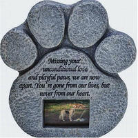 Resin Paw Print Pet Memorial Stones For Grave With Picture Frame