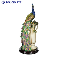 Colorful Resin Peacock Statue The Peacock's Sanctuary Sculpture Realism Arts Home Decor Items
