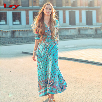 6204500b43 Alibaba 2017 hot women long dresses with long sleeves, maxi designer beach  one piece dress