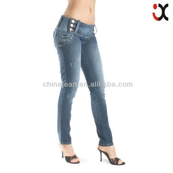 lo último 7f8be 75375 2015 nuevo estilo brasileño lavado cinco botón Mujer Vaqueros skinny JXQ576