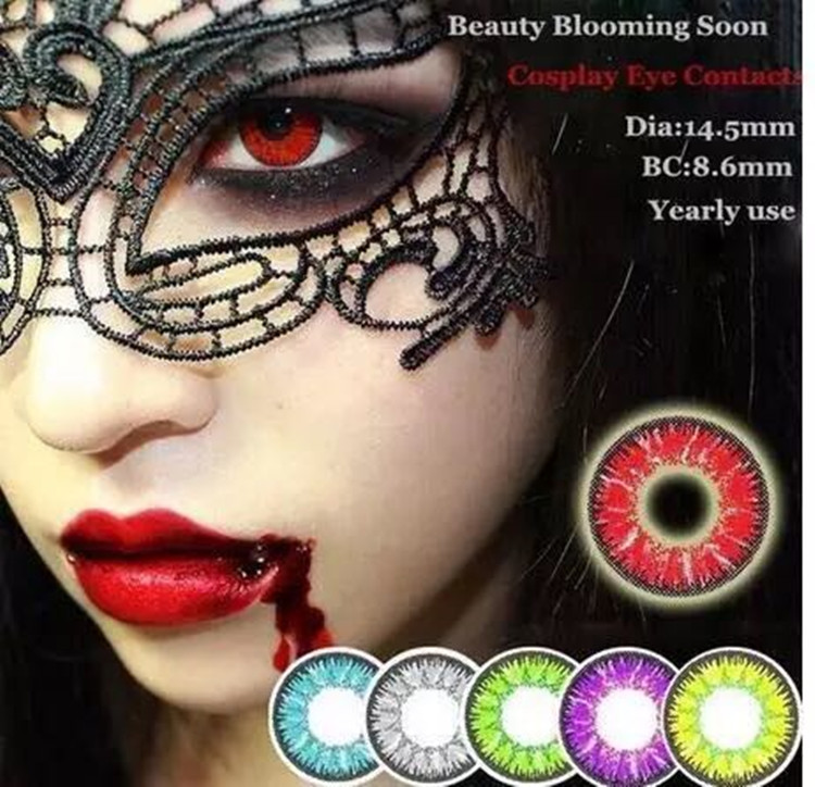 Zombie Red Devil Hallowmas Crazy Contact Lenses for Black and White Out Eyes