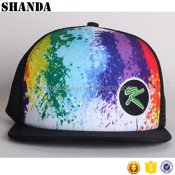 custom dye sublimation printing embroidery mesh back cap snapback hat