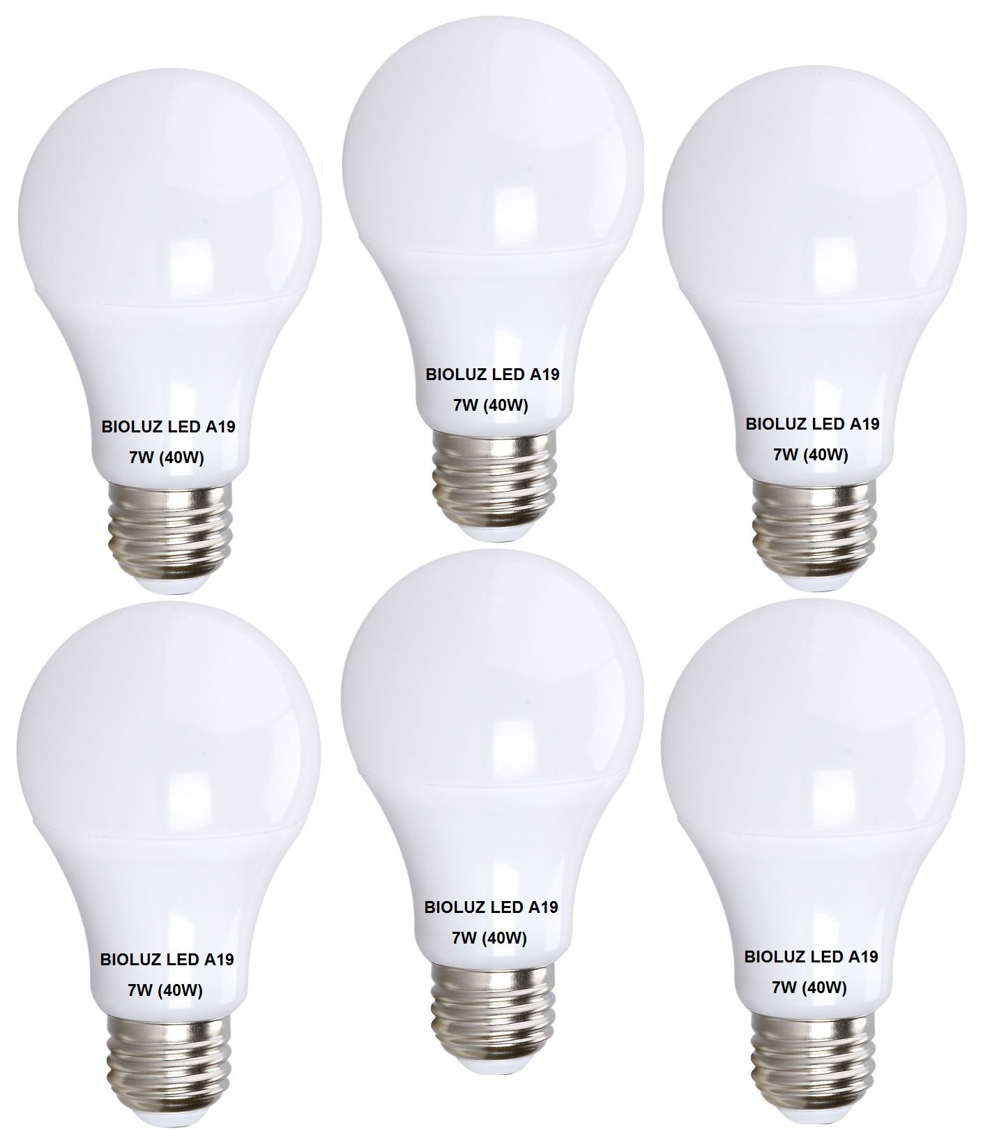 Bioluz LED 40 Watt LED Light Bulb (uses 6 watts) A19 LED Light Bulbs SEE Series Non Dimmable Warm White (2700K) Light Bulb 6-Pack