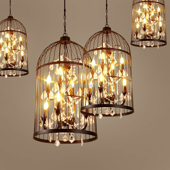American Countryside Retro Metal Crystal Bird Cage Chandeliers Chandelier Lighting Pendant Light
