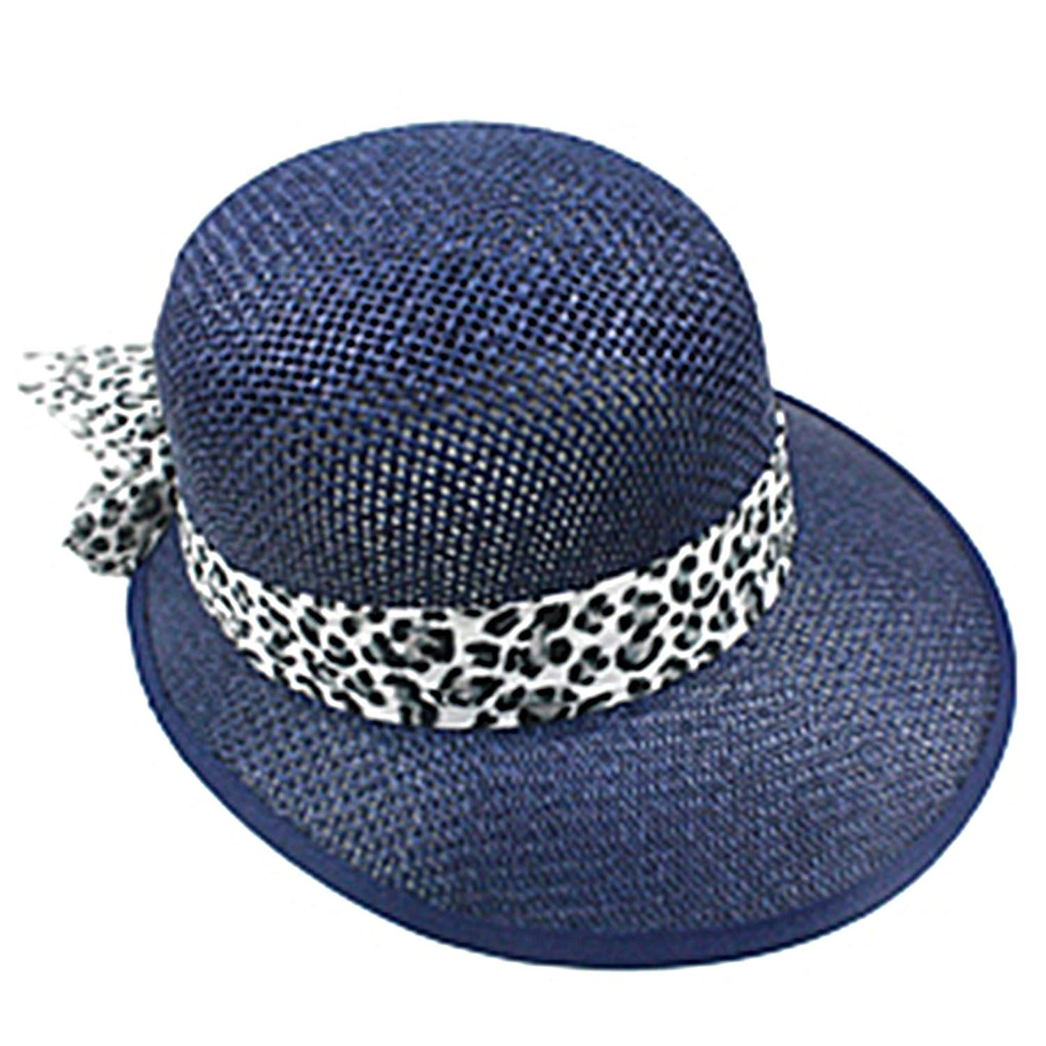 SILVERFEVER Silver Fever Women Summer Fancy Sun Hat Fits All (Navy with Cheetah)