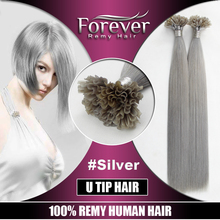 Wholesale Price Remy hair extensions Italian keratin nail-tip/u-tip human hair extension/silver hair
