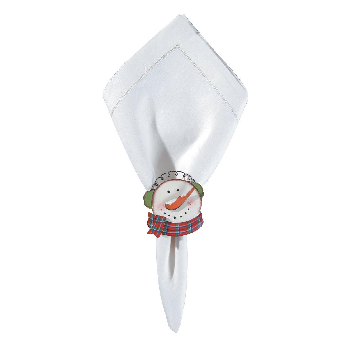 C&F Home Set of 4 Pcs, Earmuff Snowman Christmas Winter Holidays Metal Napkin Ring