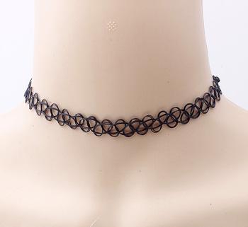 480a2c9c353b Moda Vintage elástico tatuaje collar de niñas de plástico tatuaje gargantilla  collares