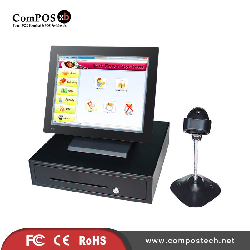 China cheap price 15 inch Pos Touch Machine POS terminal stand with cash drawer and barcode scanner