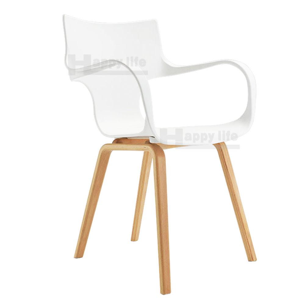 Dining furniture designer plastic chair with solid wood leg