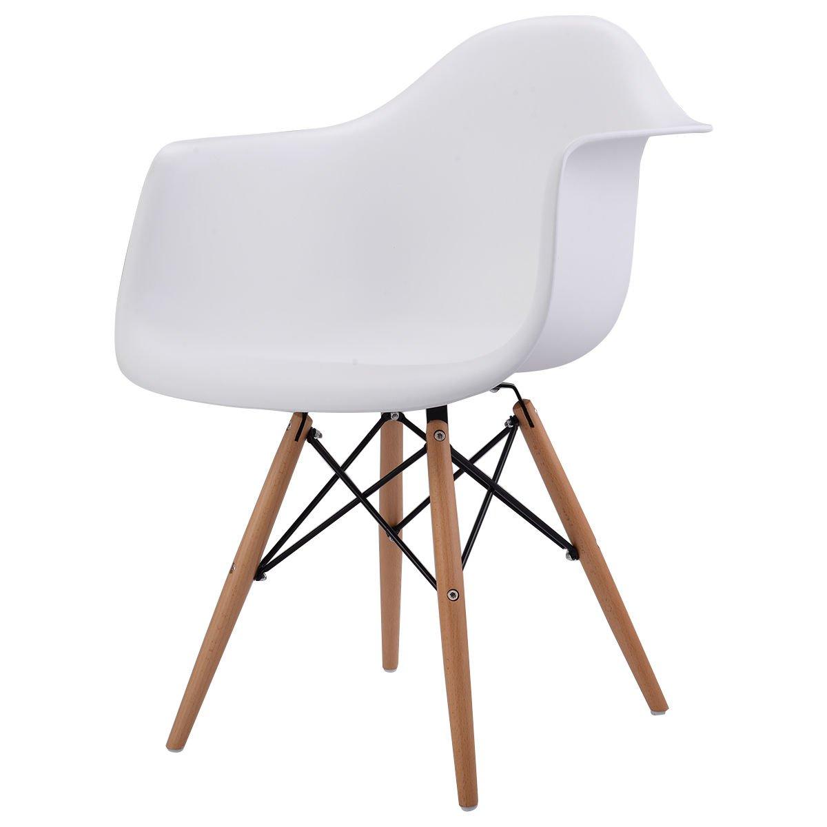 Giantex 1 PC Mid Century Modern Molded Plastic Style Dining Arm Chair Wood Legs