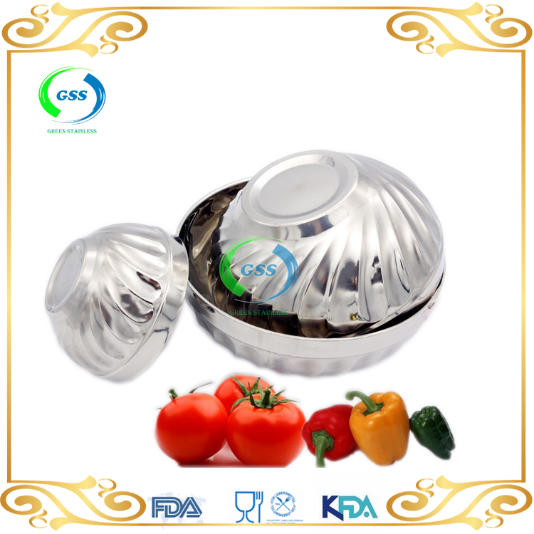 High Quality Double Wall Metal Korean Stainless Steel 304 Rice Bowl