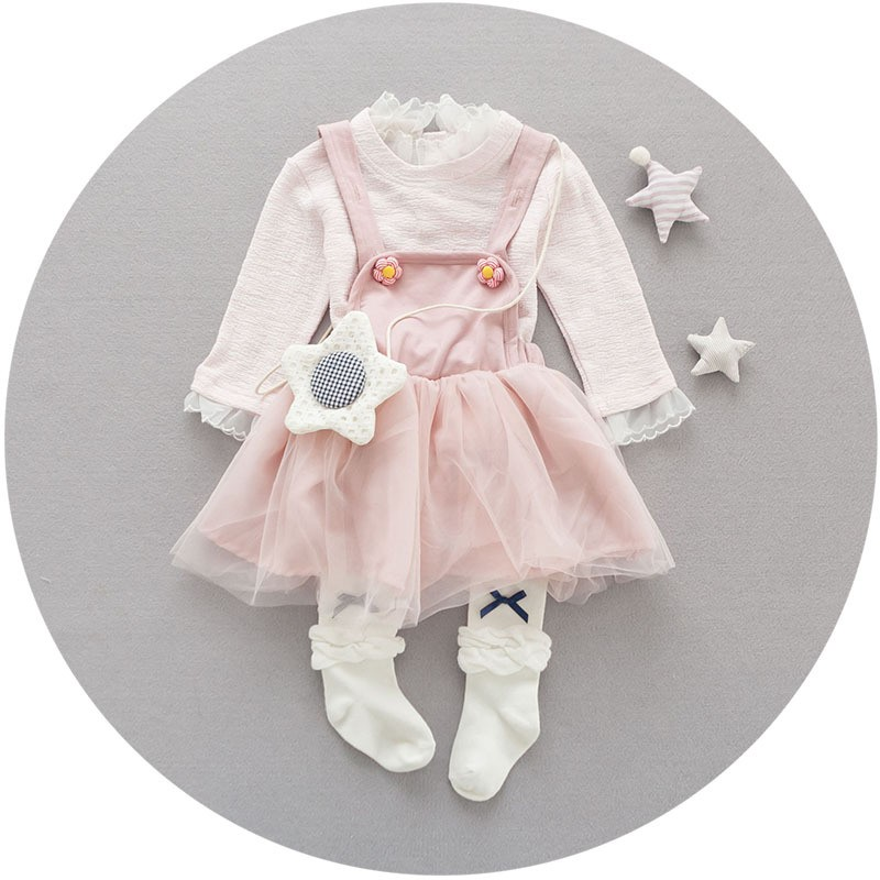YDA3088new baby clothing veil flower two pieces kid dress