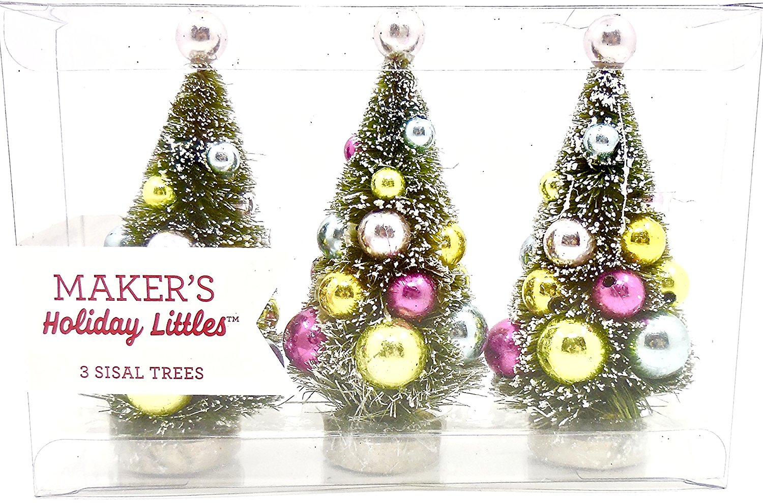Maker's Holiday Littles Jo-ann's Miniature Christmas Trees,Bulb Decorated,3 Sisal Trees to 1 package