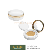 Empty circular plastic powder compact boxes shantou cosmetic packaging container