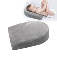 newest velvet fabric memory foam triangle shaped sleep head and body lumbar back support wedge cushion pillow for baby crib