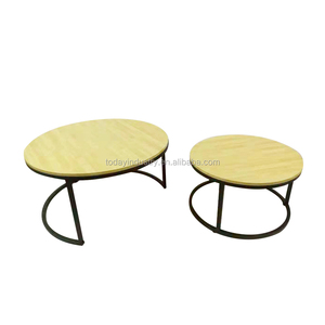 American Luxury living room furniture iron Round Marble Coffee side Table