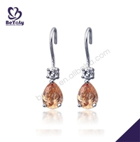 Yellow amber drop silver fashion wedding earrings chandelier