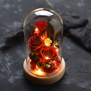trade assurance Creative Valentine's Day Gift Immortal Flowers Rose Gift Box LED Lamp Glass Cover Immortal Flowers