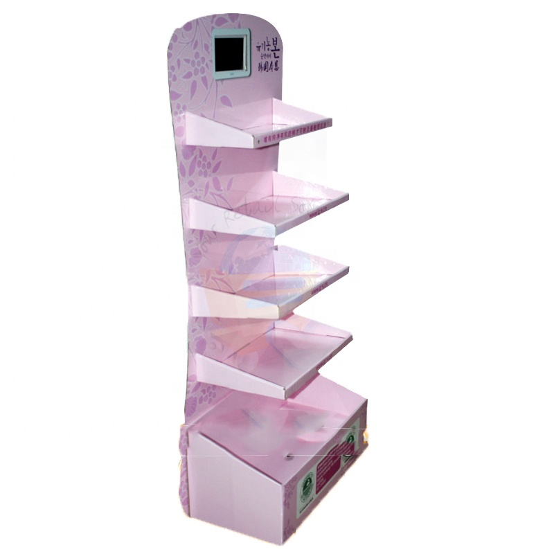 Professional Manufacturer Advertising Cardboard Retail Floor Display Rack with LCD Screen